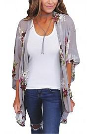 ECOWISH Womens Summer Floral Print Loose Kimono Cardigan Beach Cover up Blouse - O meu olhar - $13.99  ~ 12.02€