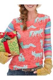 ECOWISH Womens Tops Cute Fox Print Long Sleeves Blouses Casual Striped T Shirts - O meu olhar - $6.99  ~ 6.00€