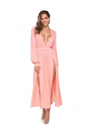 ELESOL Women Casual Deep V-Neck Long Sleeve Solid Elastic Waist Split Hem Sexy Long Dress - My look - $19.99