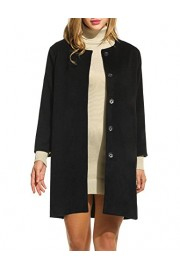 ELESOL Women Winter Collarless Wool Blended Slim Trench Coat with Pockets - My look - $49.98