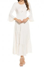ELESOL Women's Bell Sleeve Elastic Waist Tiered Renaissance Pleated Maxi Dress - My look - $16.99