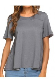 ELESOL Women's Casual Short Sleeve Loose Fit T Shirts Tops Solid Plain Shirts - My look - $12.99