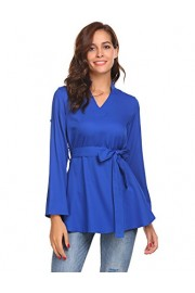 ELESOL Womens Cuffed Sleeve V Neck Blouse Shirt Top with Removable Belt - My look - $12.99