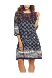 ELESOL Women's Tribal Print Tassel Tie Neck Tunic Dress Navy Blue L - My look - $15.49
