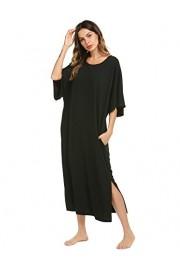 Ekouaer Nightgown, Womens Round Neck/V Neck Loungewear Oversized Pajama Loose Pockets Long Sleep Dress - Myファッションスナップ - $5.99  ~ ¥674