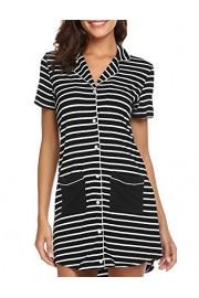 Ekouaer Short Sleeve Striped Sleepshirt Women's Nightgown Boyfriend Button Down Lapel Collar Sleep Shirt - Myファッションスナップ - $14.99  ~ ¥1,687