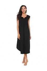 Ekouaer Sleepwear Cotton v Neck Pajamas Sleeveless Long Nightgowns Women - Myファッションスナップ - $5.99  ~ ¥674