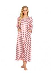 Ekouaer Women Long Robes Zipper Front Full Length House Coat with Pockets Striped Loungewear - My look - $19.99