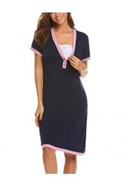 Ekouaer Women's Maternity Dress Short Sleeve Nursing Nightgown for Breastfeeding Sleepwear S-XXL - My look - $12.99