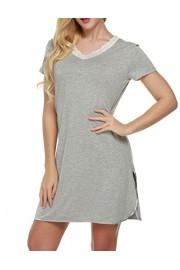 Ekouaer Women's Nightgown, Cotton Sleep Shirt V Neck Short Sleeve Loose Comfy Pajama Sleepwear S-XXL - Myファッションスナップ - $3.99  ~ ¥449