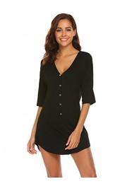 Ekouaer Womens Nightshirt V Neck Boyfriend Sleepwear Shirts Loose Sleeve Button Sleep Tee S-XXL - Myファッションスナップ - $0.99  ~ ¥111