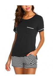 Ekouaer Womens Pajama Set Striped Short Sleeve Sleepwear Pjs Sets(S-XXL) - Myファッションスナップ - $2.99  ~ ¥337