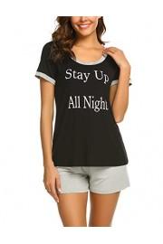 Ekouaer Women's Short Pajama Set Scoop Neck Short Sleeve Sleepwear Printed Tee Shirt Shorts Pjs Sets S-XXL - My look - $16.99