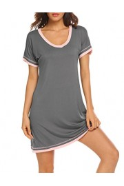 Ekouaer Women's Sleepwear Casual V Neck Nightshirt Short Sleeve Nightgown S-XXL - Myファッションスナップ - $15.99  ~ ¥1,800