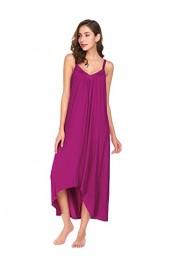 Ekouaer Womens Sleeveless Long Nightgown Summer Slip Night Dress Cotton Sleepshirt Chemise - Myファッションスナップ - $9.59  ~ ¥1,079