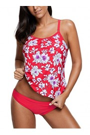 Elapsy Womens 2pcs Floral Printed Tankini Padded Push Up Swimsuits With Brief Bathing Suit - My look - $49.99