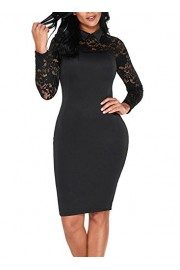 Elapsy Womens Black Lace Long Sleeve Doll Collar Bodycon Evening Party Midi Dress - My look - $49.99