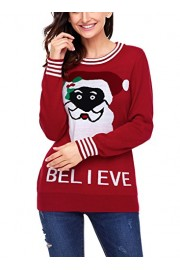 Elapsy Womens Black Long Sleeve Ugly Santa Christmas Sweater Jumper Pullover Print Tops - My look - $61.99