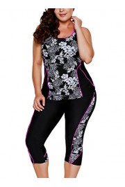 Elapsy Womens Carved Flowery Print Black Tankini Swimsuit and Swim Capris Bathing Suit M-XXXL - My look - $49.99