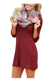 Elapsy Womens Casual 3 4 Sleeve Cable Knit Sweater Stretch A Line Tunic Skater Dress - My look - $61.99