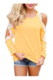 Elapsy Womens Casual Floral Lace Trim Crochet Cold Shoulder Long Sleeve Tops Blouses - My look - $35.99