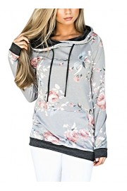 Elapsy Womens Casual Floral Printed Long Sleeve Hoodie Tops Pullover Sweatshirts (S-XXL) - My look - $51.99