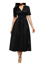 Elapsy Womens Casual Vintage Retro V Neck Short Sleeve Swing Midi A Line Skater Dress with Bowknots - My look - $66.99