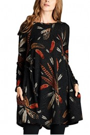Elapsy Womens Long Sleeve Feather Print Casual A Line Tunic T Shirt Dress With Pockets - My look - $50.99
