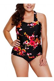 Elapsy Womens Retro Vintage Floral Print Halter One Piece Bathing Suit Swimwear Monokinis - My look - $39.99