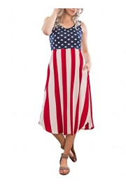 Elapsy Womens Sleeveless American Flag Print Casual Midi Tank Dress with Pocket - My look - $53.99
