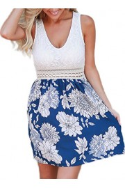 Elapsy Womens Summer Casual Lace Floral Print Sleeveless Club Short Mini Tank Skater Dress - My look - $32.99
