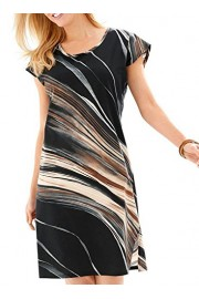 Elapsy Womens Taupe Tie Dye Print Cap Sleeve Sheath Pencil Work Club Dress - My look - $53.99