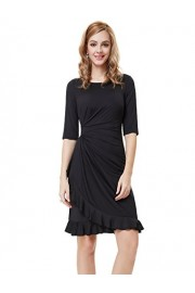 Ever-Pretty Half Sleeve Ruched Waist Ruffles Stretchy Wear to Work Dress 03900 - My look - $56.99