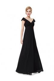 Ever-Pretty Juniors Off Shoulder V Neck Floor Length Black Prom Dress 08457 - My look - $85.99
