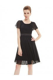 Ever-Pretty Round Neckline Sleeve Ruched Short Casual Wear to Work Dress 03990 - My look - $61.99