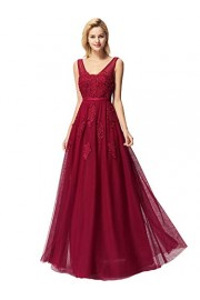 Ever-Pretty Women's Double V-Neck Tulle Appliques Evening Party Maxi Dress 07723 - My look - $54.99