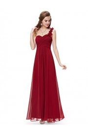 Ever-Pretty Womens Flower One Shoulder Long Bridesmaids Dress 4 US Burgundy - My look - $76.99