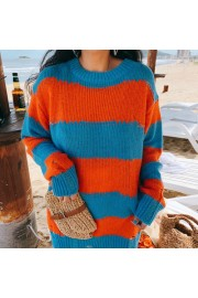 Fashion hole mohair striped casual sweat - My look - $29.99