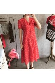 Floral V-neck Chiffon Dress - Moj look - $27.99  ~ 24.04€