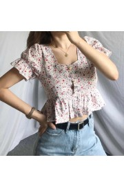 Floral retro square neck puff sleeve bac - My look - $27.99