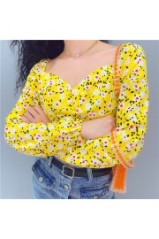 Floral yellow square collar long sleeve - My look - $27.99