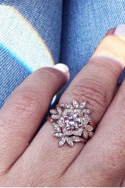 Flower Morganite Diamond Rings Set, Morg - My photos -