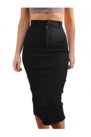 GOBLES Women's High Waist Stretch Casual Bodycon Office Midi Pencil Skirt - O meu olhar - $35.99  ~ 30.91€