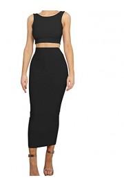 GOBLES Women's Sexy Bodycon Sleeveless Crop Top Long Skirts 2 Piece Dress - O meu olhar - $35.99  ~ 30.91€