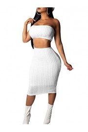 GOBLES Women's Sexy Knitted Sweater Crop Top Midi Skirt Club 2 Piece Outfits - O meu olhar - $35.99  ~ 30.91€