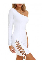 GOBLES Women's Sexy Long Sleeve One Shoulder Bodycon Lace Up Mini Club Dress - O meu olhar - $35.99  ~ 30.91€