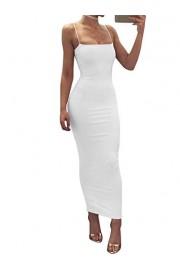 GOBLES Women's Sexy Slim Bodycon Spaghetti Strap Off Shoulder Long Club Dress - O meu olhar - $35.99  ~ 30.91€