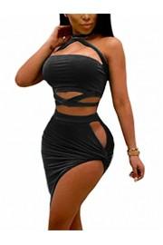 GOBLES Women's Sexy Two Piece Outfits Bodycon Criss Cross Bandage Mini Club Dress - O meu olhar - $35.99  ~ 30.91€