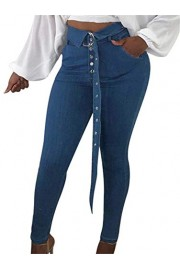 GOBLES Women's Stretch Skinny Jeans High Waist Long Denim Pants with Belt - O meu olhar - $60.99  ~ 52.38€