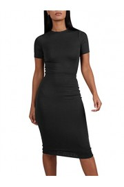 GOBLES Womens Summer 2 Piece Outfits Bodycon Short Sleeve Midi Pencil Dress - O meu olhar - $35.99  ~ 30.91€